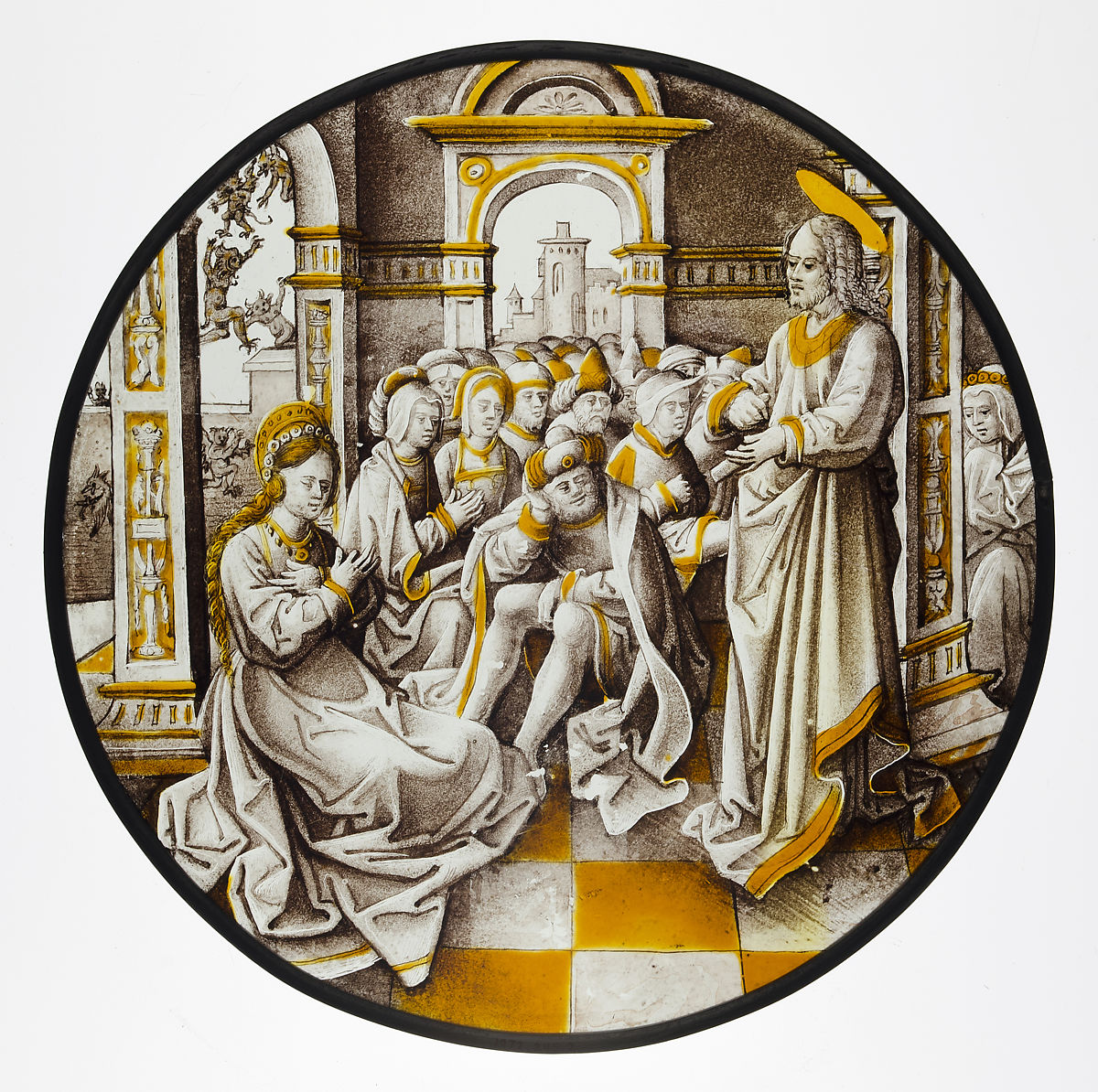 Roundel with Christ and the Adulterous Woman, Style of Pseudo-Ortkens (South Netherlandish, active Antwerp and Brussels, ca. 1500–30), Colorless glass, vitreous paint and silver stain, South Netherlandish