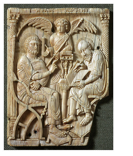 Ivories of the So-Called Grado Chair: Saint Peter Dictating the Gospel to Saint Mark | The Metropolitan Museum of Art