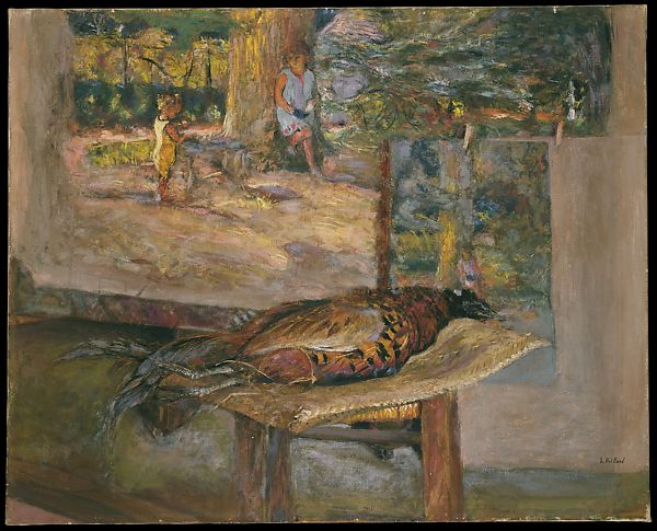 Interior with Paintings and a Pheasant, Édouard Vuillard (French, Cuiseaux 1868–1940 La Baule), Tempera and pastel on canvas
