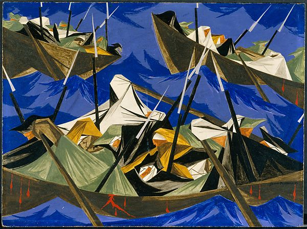 Jacob Lawrence | We crossed the River at McKonkey's Ferry 9 miles above Trenton ... the night was excessively severe ... which the men bore without the least murmur...-Tench Tilghman, 27 December 1776/Struggle Series - No. 10: Washington Crossing the Delaware | The Met