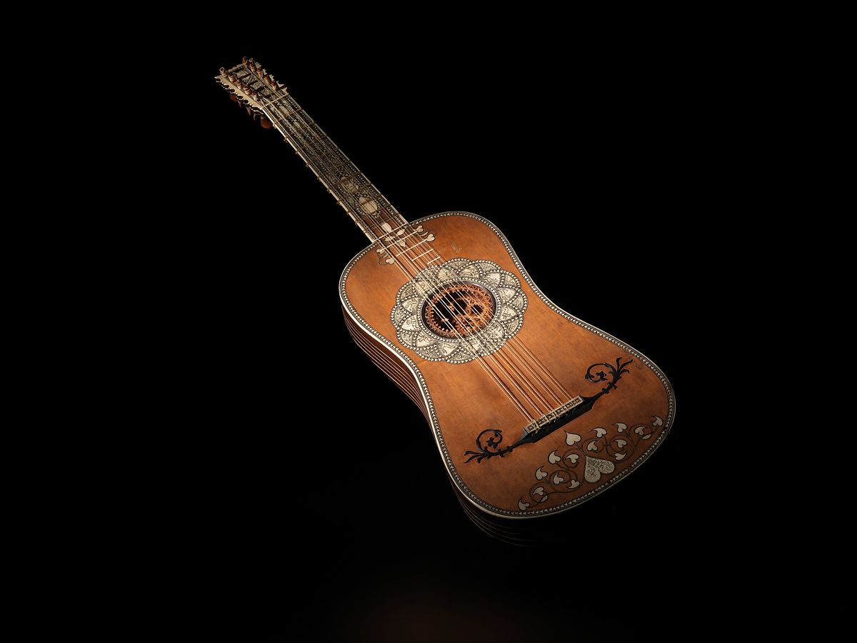 Guitar, Attributed to Matteo Sellas (German, Füssen ca. 1599–1654 Venice), Spruce, bone, parchment, snakewood, ivory, Italian