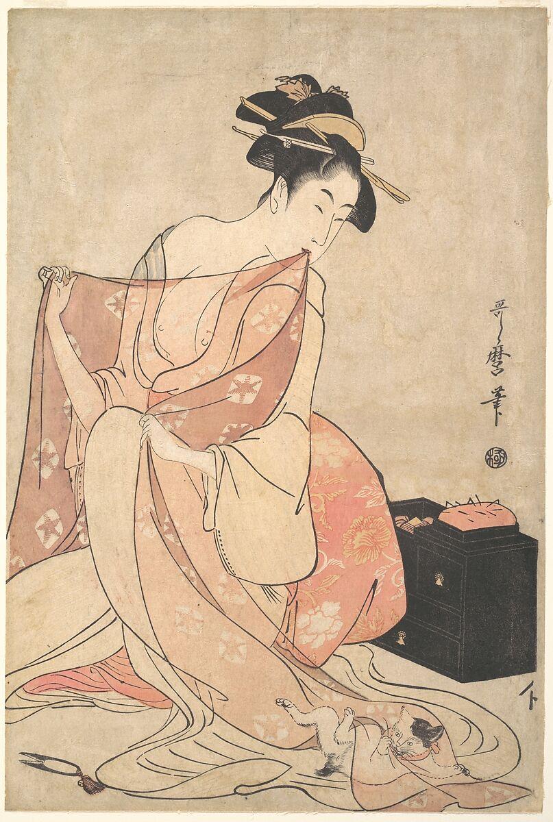 Kitagawa Utamaro | A Woman and a Cat | Japan | Edo period (1615–1868) | The Met