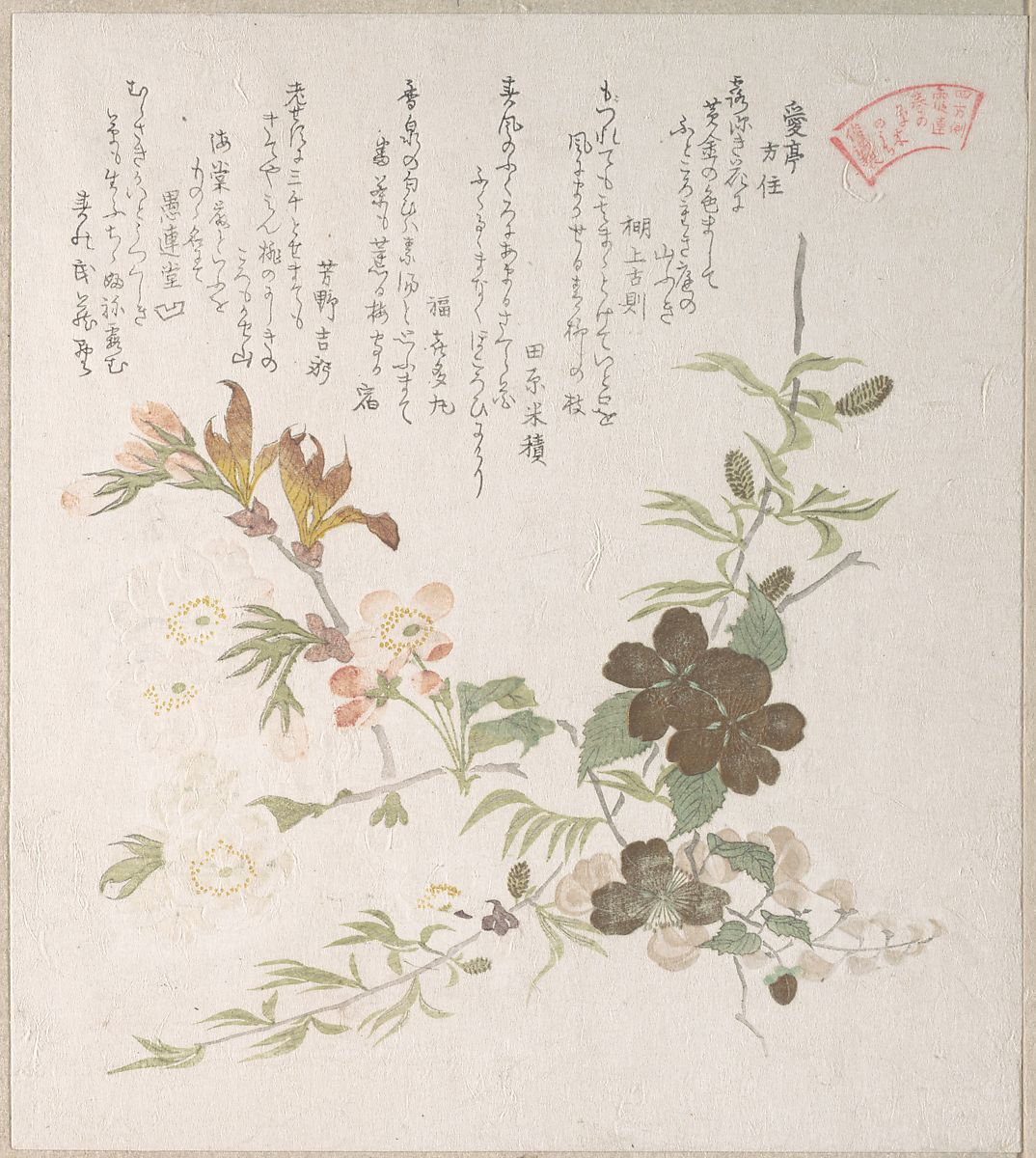 Kubo Shunman Cherry Blossoms And Yamabuki Flowers Japan Edo