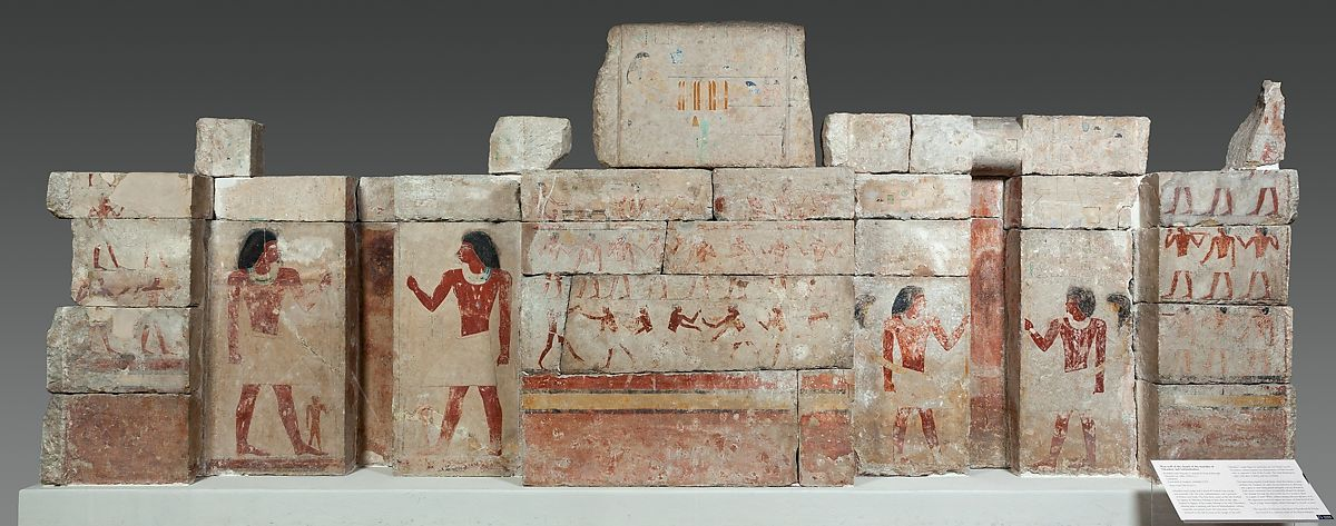 West wall of the chapel of Nikauhor and Sekhemhathor, Limestone, paint
