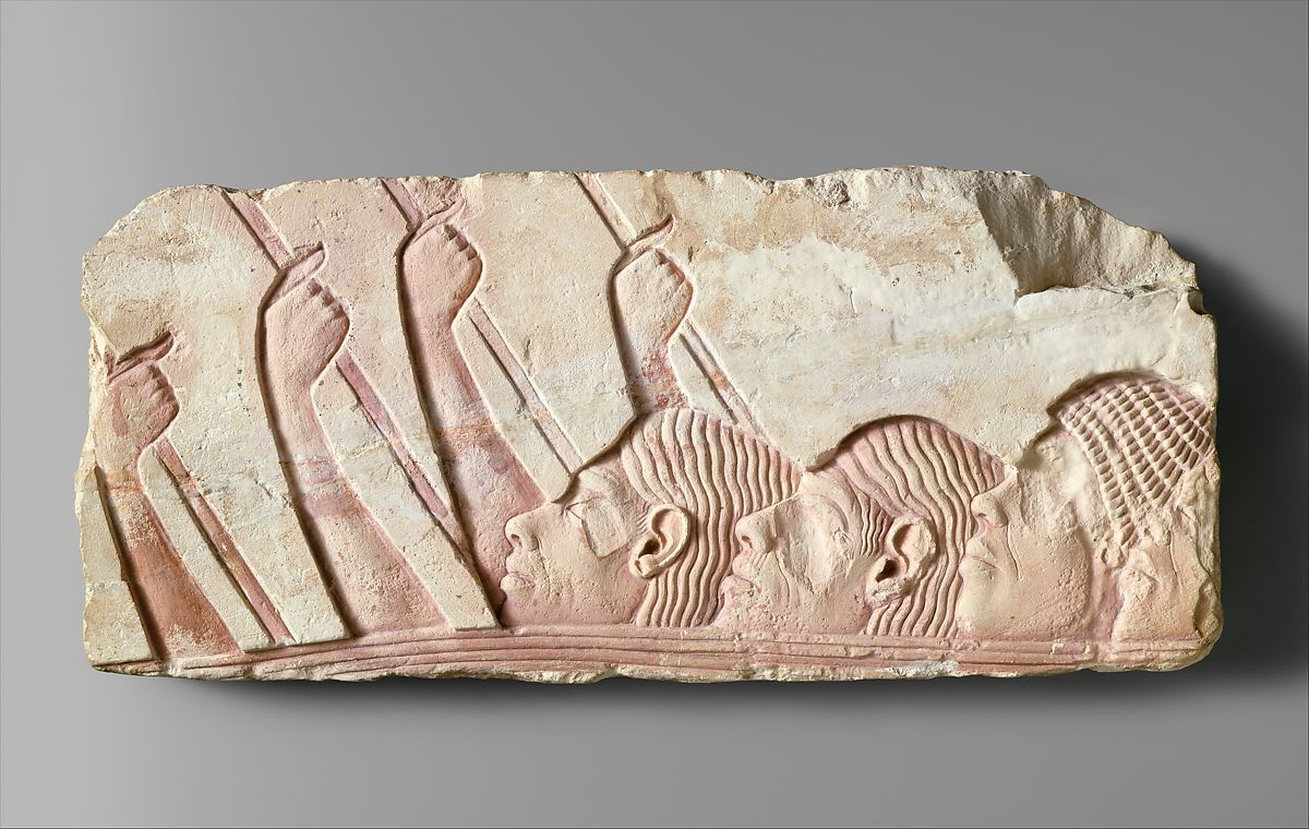 Foreigners in a Procession, Limestone, paint