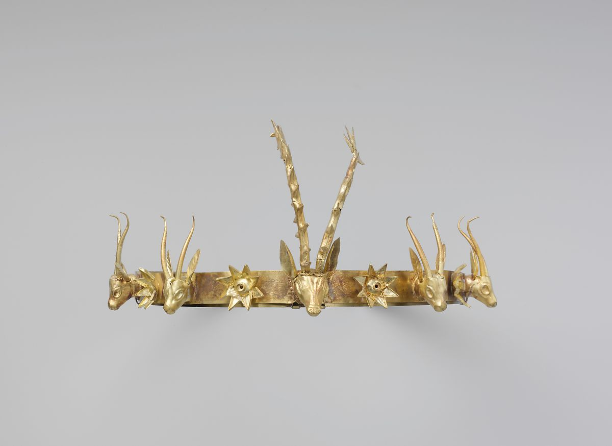 Headband With Heads Of Gazelles And A Stag Between Stars Or Flowers