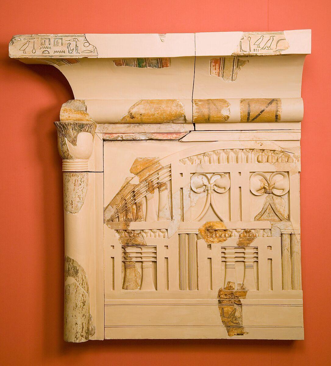 Part of the shrine of Queen Henhenet, Limestone, paint