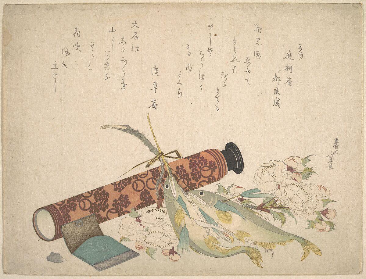 Katsushika Hokusai   Still Life: Double Cherry-Blossom Branch, Telescope, Sweet Fish, and Tissue Case   Japan   Edo period (1615–1868)   The Met