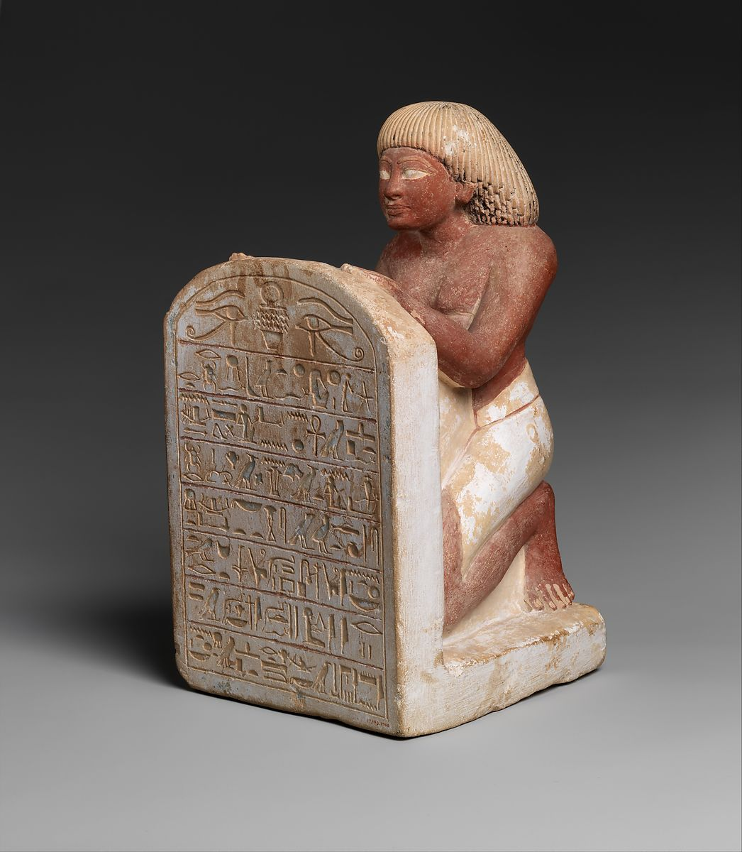 Statue of Roy Chanting the Solar Hymn Written on His Stela, Limestone, paint