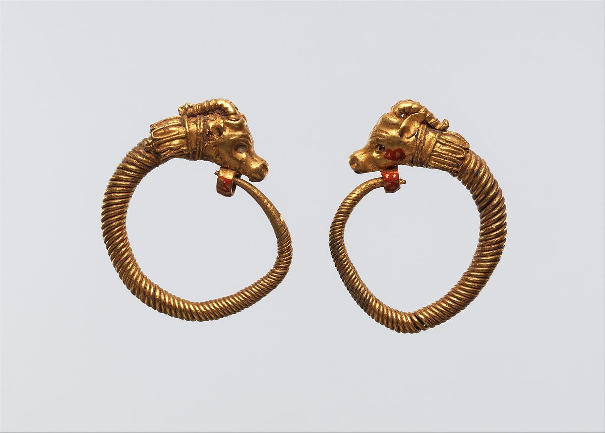 Earrings with ibex head terminal | Ptolemaic Period | The Met