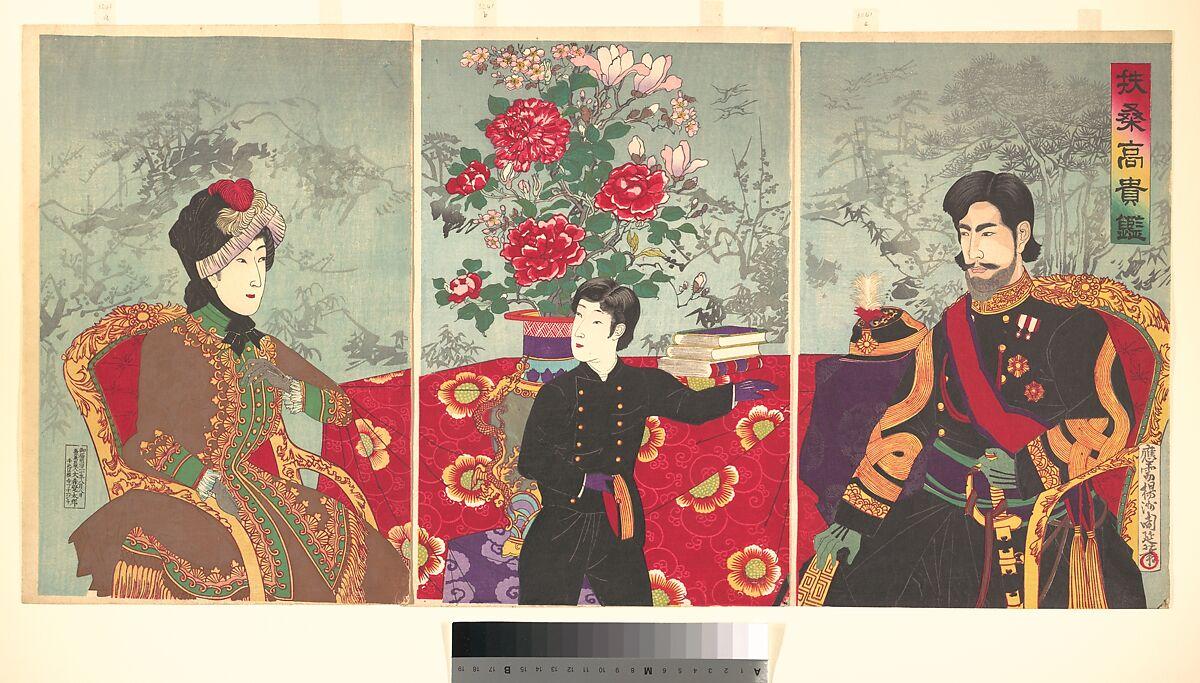 Yōshū (Hashimoto) Chikanobu   A Mirror of Japan's Nobility: The Emperor Meiji, His Wife, and Prince Haru (Fūsō kōki kagami)   Japan   Meiji period (1868–1912)   The Met