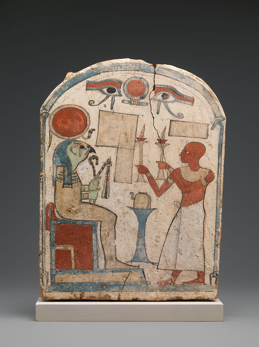 Stela with man offering to Re-Harakhty, unfinished | Third Intermediate Period | The Met