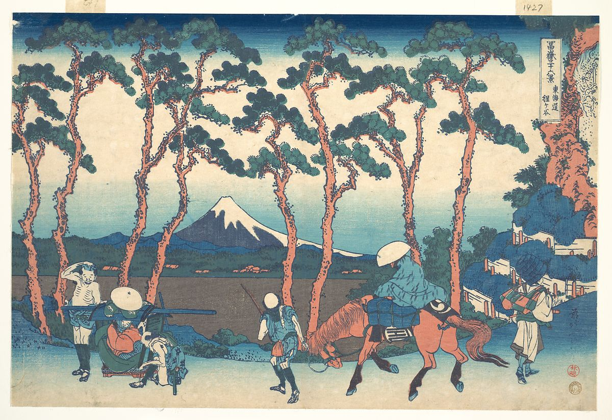 Katsushika Hokusai,Hodogaya on the Tōkaidō (Tōkaidō Hodogaya), c. 1830-32, The Metropolitan Museum of Art, New York, NY, USA. mount fuji