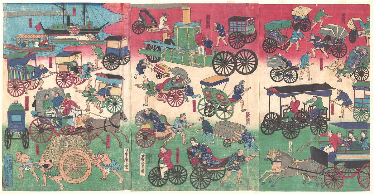 Utagawa Yoshitora | Vehicles on the Streets of Tokyo | Japan | Edo period  (1615–1868) | The Metropolitan Museum of Art