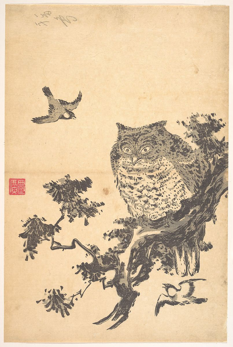 Owl and Two Swallows, Utagawa Toyohiro (Japanese, 1763–1828), Woodblock print; ink and color on paper, Japan