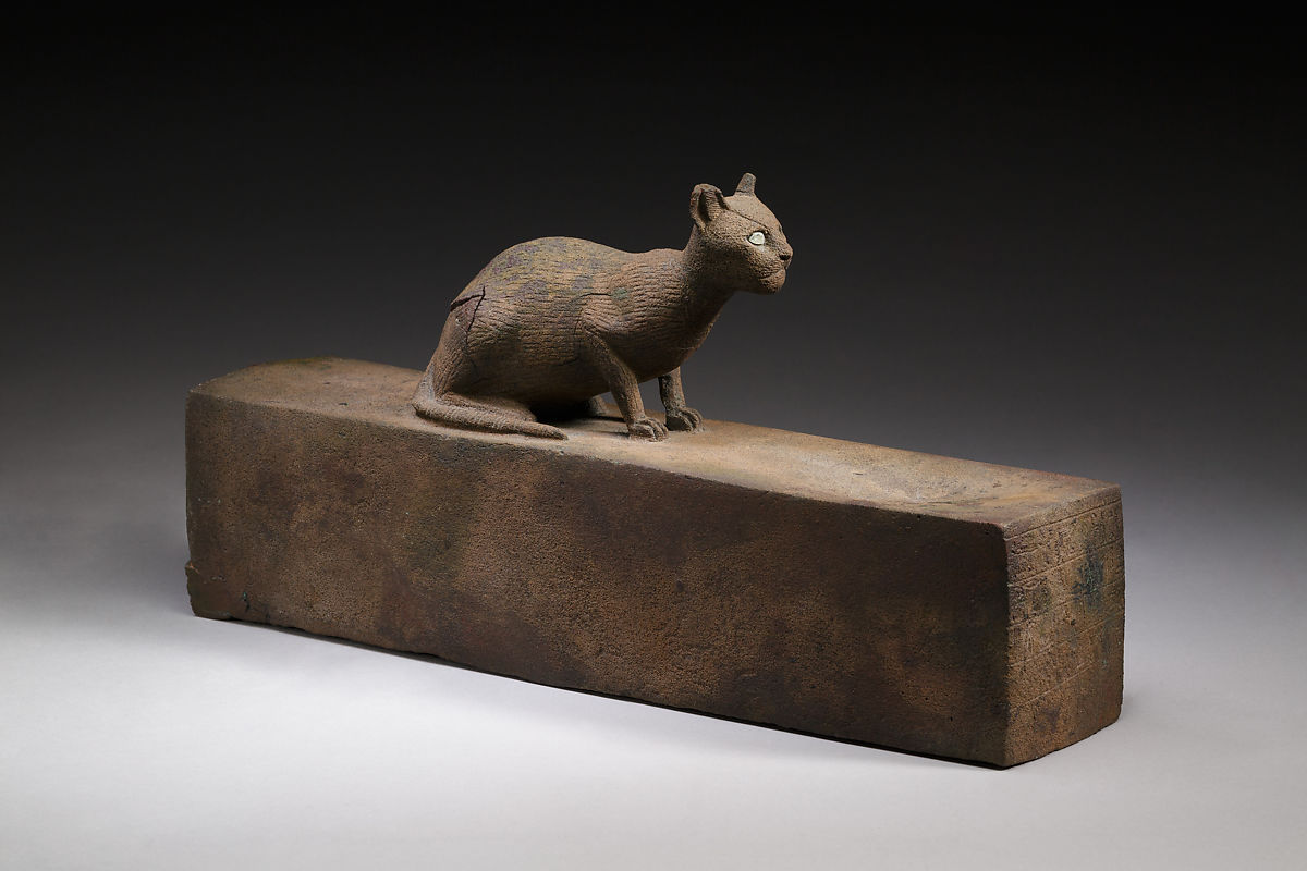 Box for animal mummy surmounted by a cat, inscribed   Late Period–Ptolemaic Period   The Met