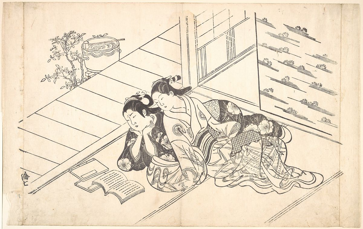 Two Women Reclining on the Floor of a Room and Reading a Book, Nishikawa Sukenobu (Japanese, 1671–1750), Monochrome woodblock print; ink on paper, Japan