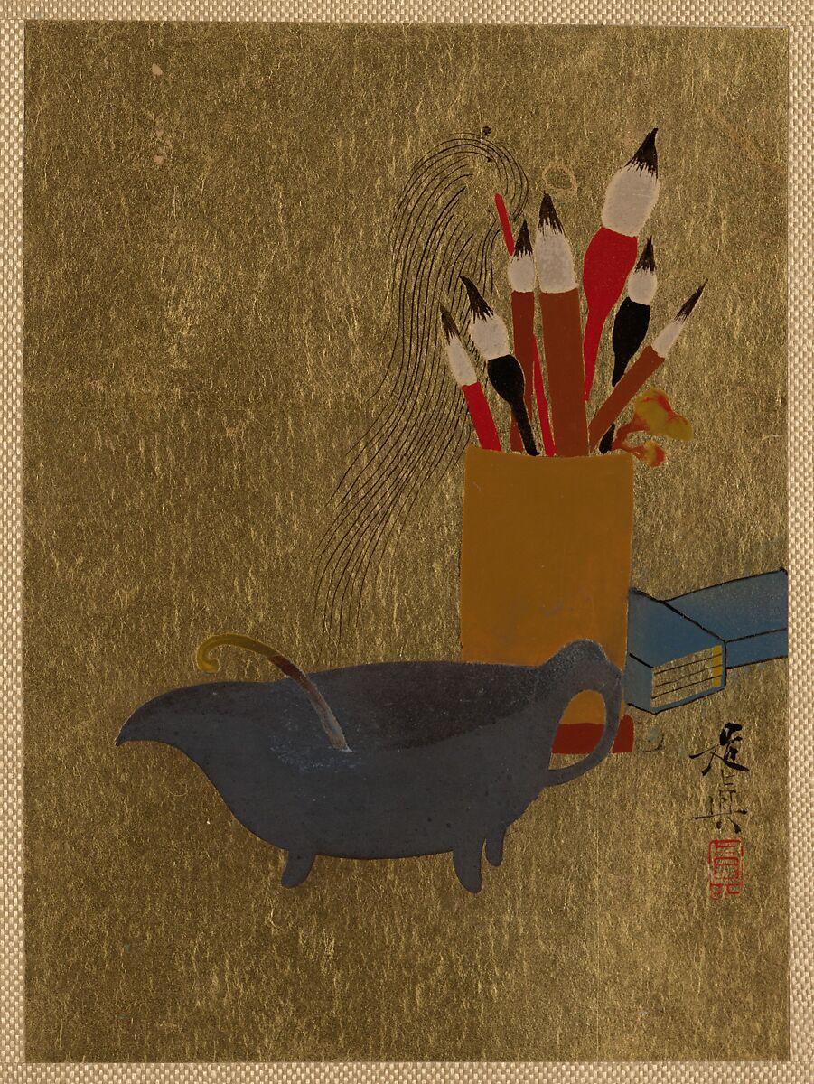 Shibata Zeshin | Kettle and Box with Paint Brushes | Japan | Edo period (1615–1868) | The Met