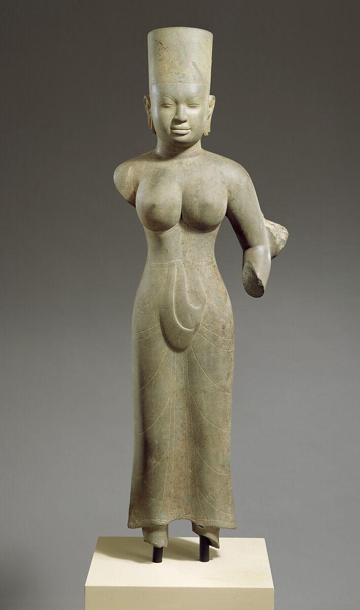 Standing Female Deity, probably Durga, Stone, Cambodia