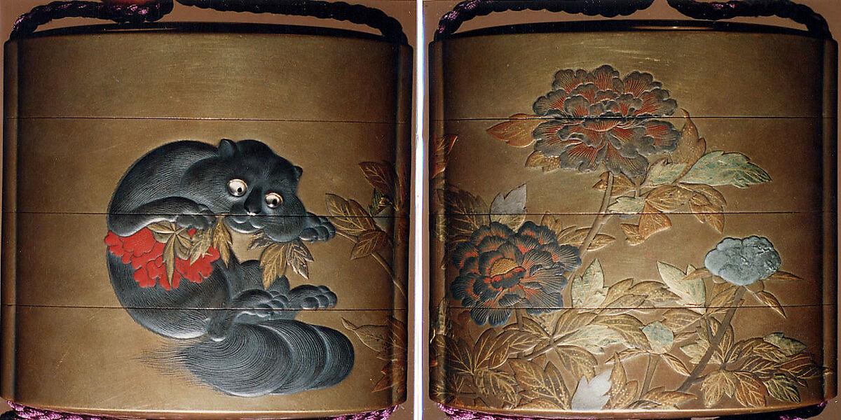 Case (Inrō) with Design of Flowering Peonies (obverse) Cat Biting into Peony Stem (reverse) | Japan | The Met