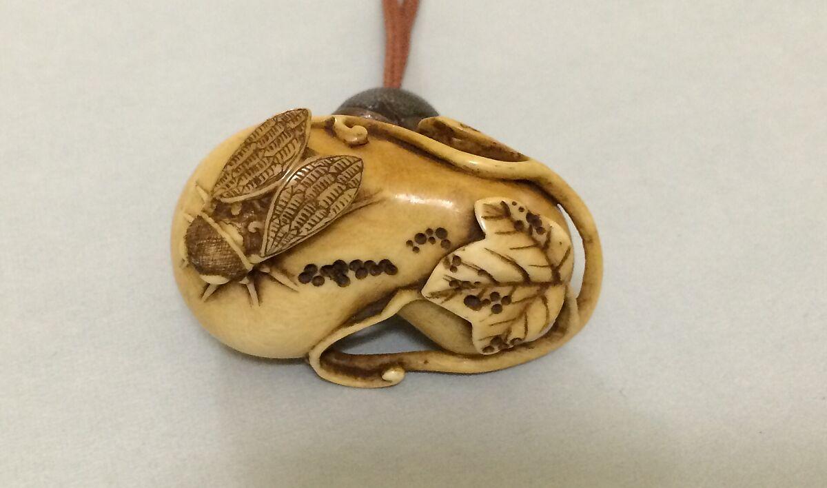 ivory netsuke of cicada on a gourd