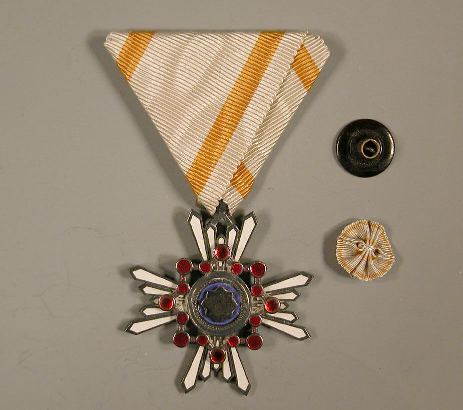 Medal and Button, White triangular ribbon with yellow stripes, Japan