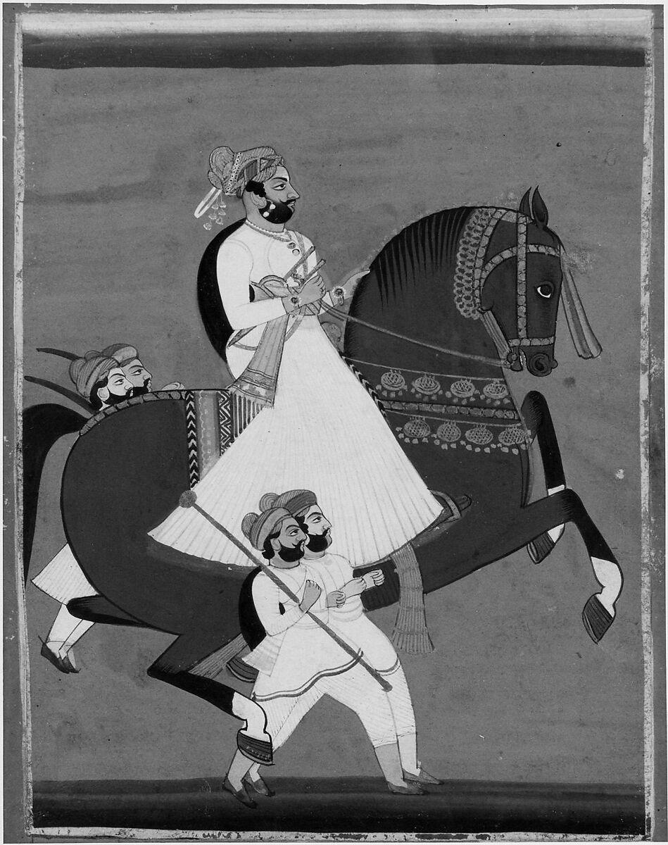 Raja on Horseback Accompanied by His Favorite Attendants | India | Rajput: Jaipur | The Met
