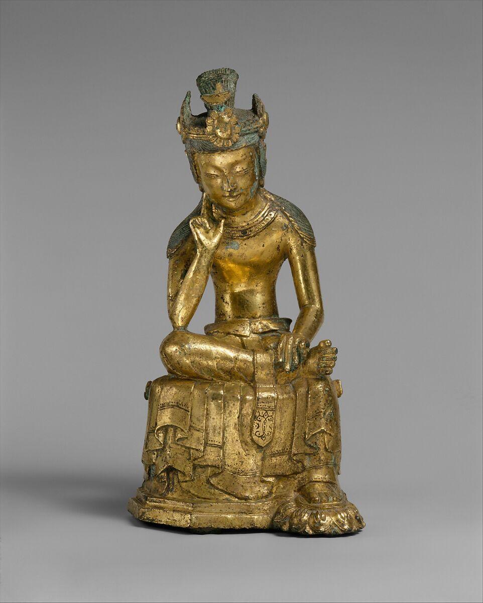Pensive bodhisattva, Gilt bronze, Korea