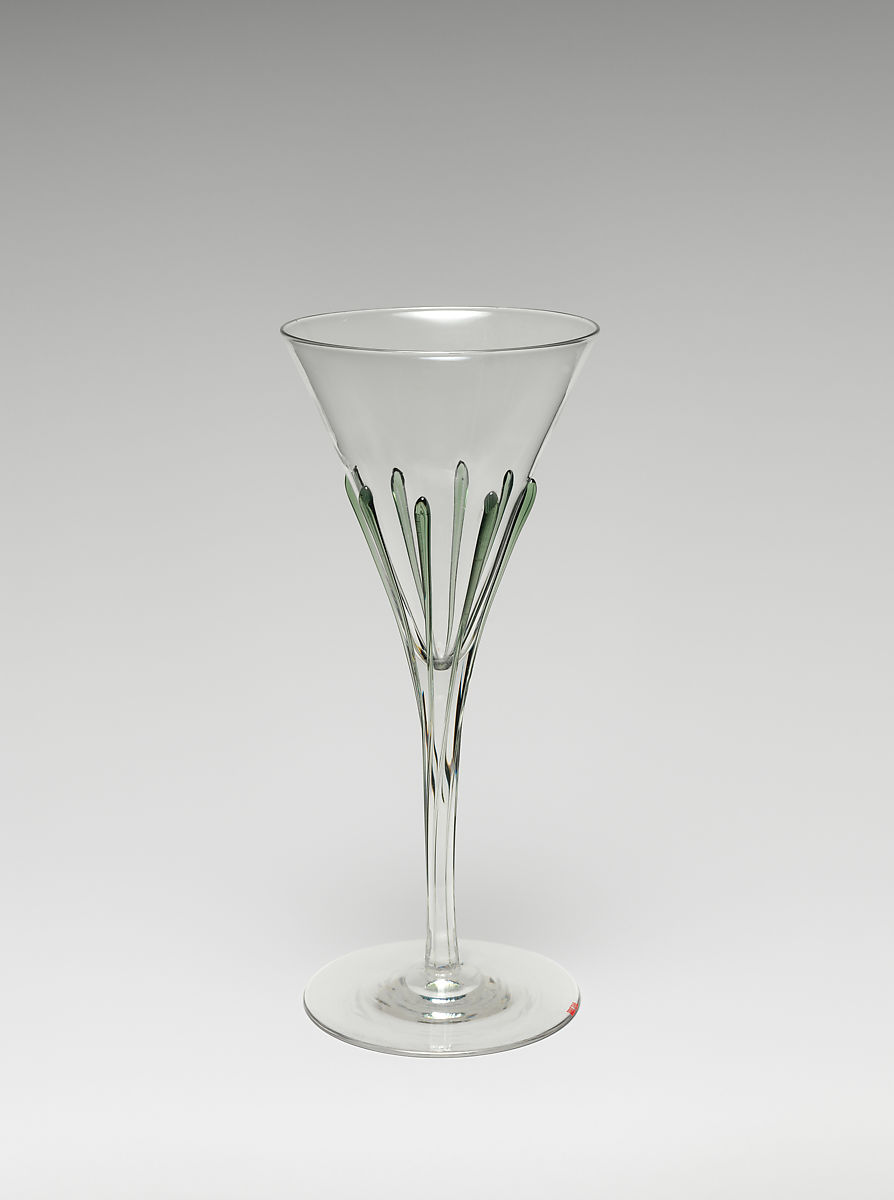 Tear wine glass, Attributed to Harry Powell (British, 1853–1922), Glass with green glass tears, British, London