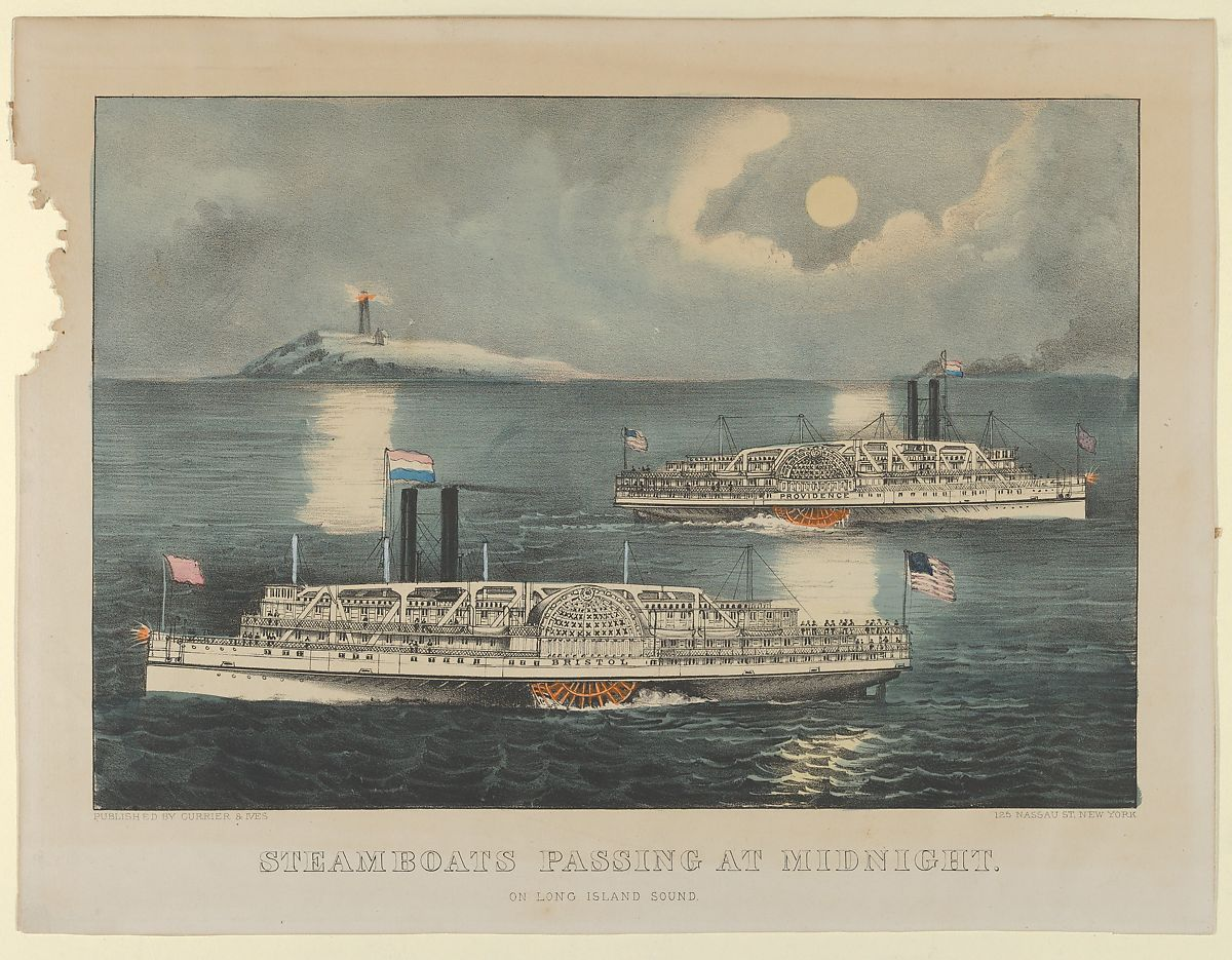 Lithographed and published by Currier & Ives | Steamboats Passing at Midnight – On Long Island Sound | The Met