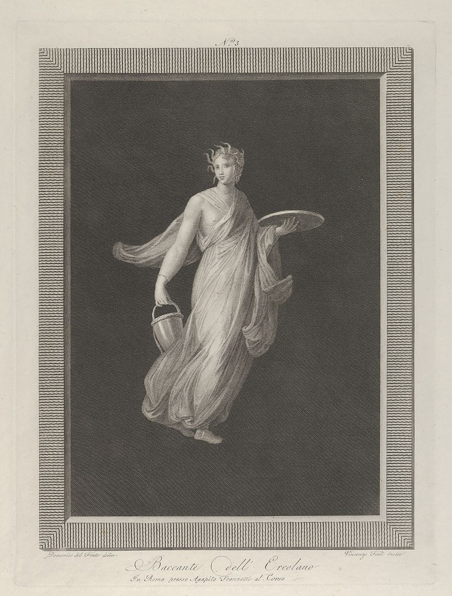 Engraved by Vicenzo Feoli | A partly naked bacchante holding a disk in her raised left hand and a bucket in her right, set against a black background inside a rectangular frame | The Met