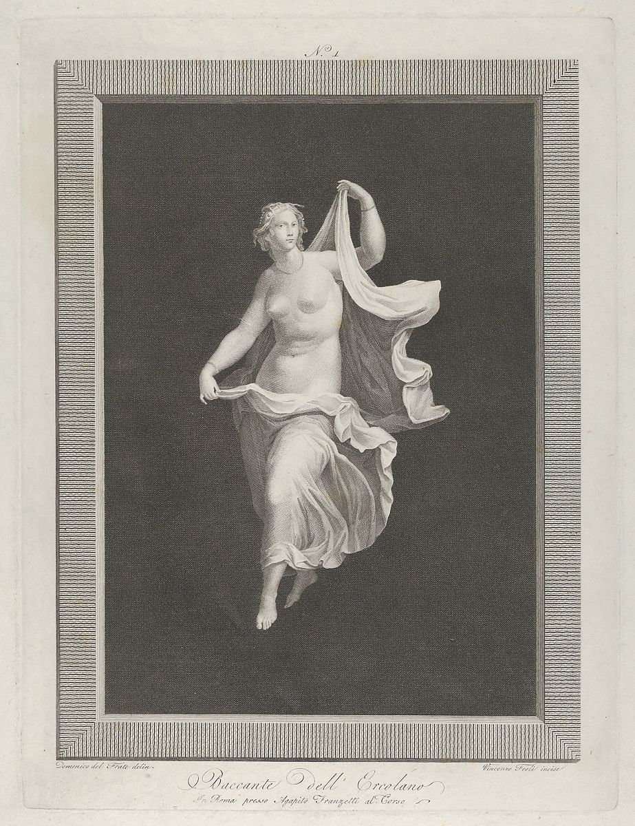 Engraved by Vicenzo Feoli | A partly naked bacchante stepping forward and holding ends of her drapery in each hand, set against a black background inside a rectangular frame | The Met