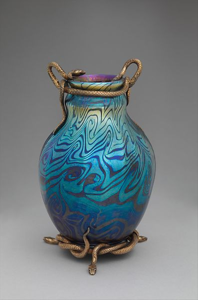 Tiffany Furnaces Vase With Serpent Mounts American Russian