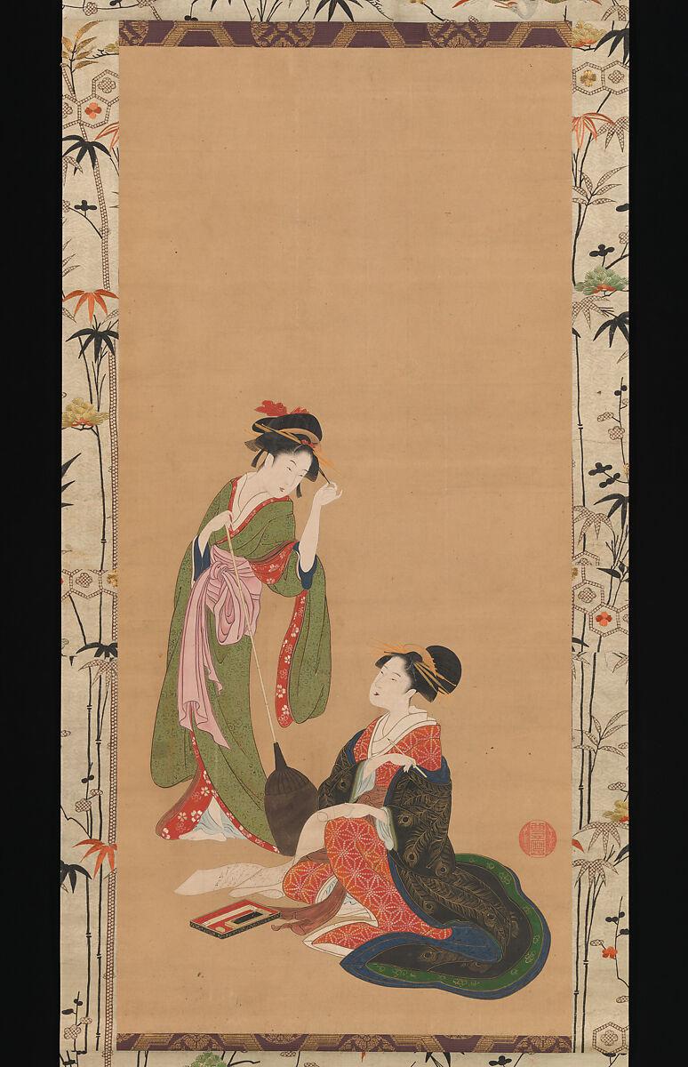 Kinpūsha Toyomaro | Courtesans Parodying Kanzan and Jittoku | Japan | Edo period (1615–1868) | The Met