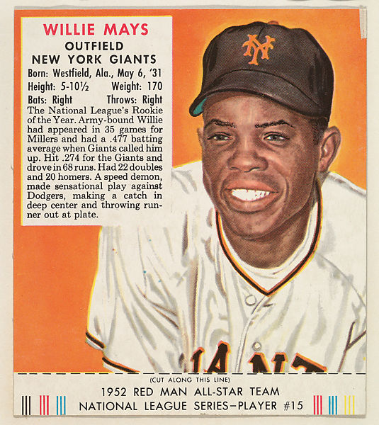 Issued By Red Man Chewing Tobacco Willie Mays From The Red Man