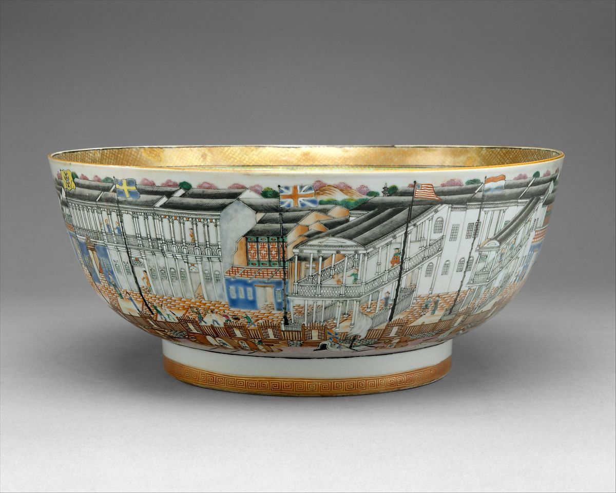 Punch Bowl, Porcelain, Chinese, for American market