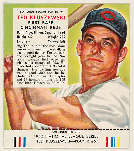 Issued by Red Man Chewing Tobacco | Ted Kluszewski, from the Red Man