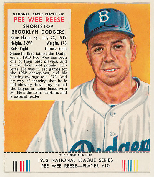 Issued by Red Man Chewing Tobacco | Pee Wee Reese, from the Red Man