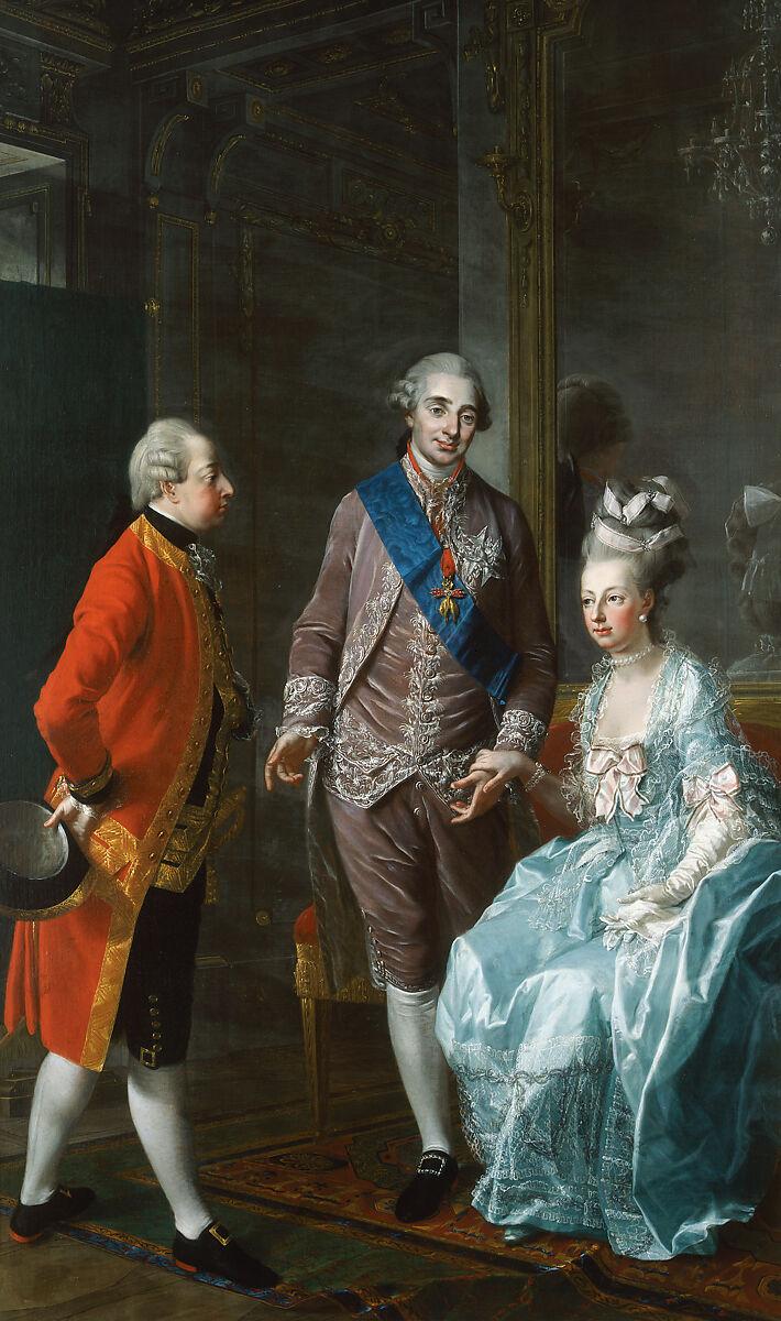 Marie Antoinette, Louis XVI, and the Archduke Maximilian, Josef Hauzinger (Austrian, 1728–1786), Oil on canvas