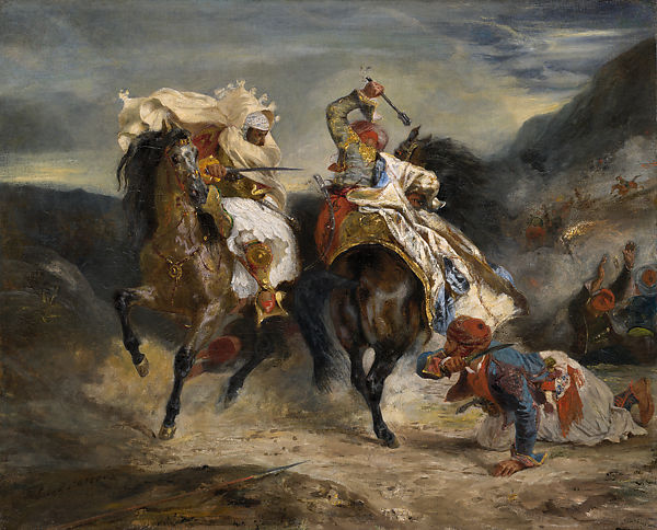 Combat of the Giaour and Hassan, Eugène Delacroix (French, Charenton-Saint-Maurice 1798–1863 Paris), Oil on canvas