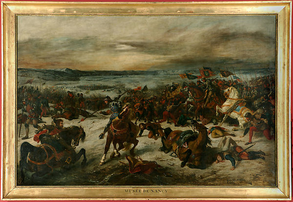 The Battle of Nancy and the Death of Charles the Bold, Duke of Burgundy, January 5, 1477, Eugène Delacroix (French, Charenton-Saint-Maurice 1798–1863 Paris), Oil on canvas