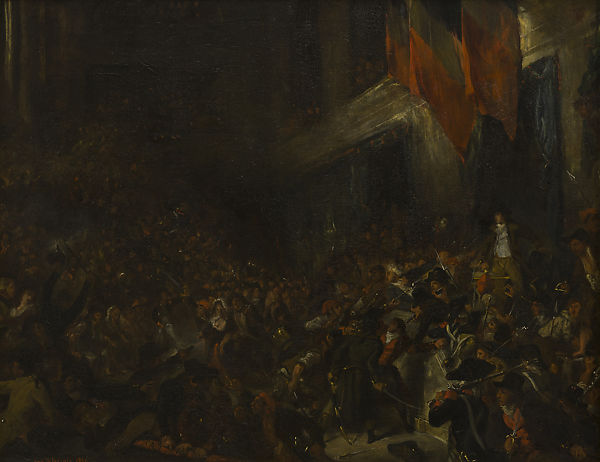 Boissy d'Anglas at the Convention, sketch, Eugène Delacroix (French, Charenton-Saint-Maurice 1798–1863 Paris), Oil on canvas