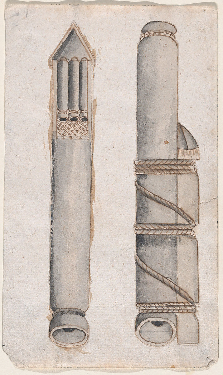 Anonymous, Italian, 17th century | Design of fireworks: two views of a rocket | The Met