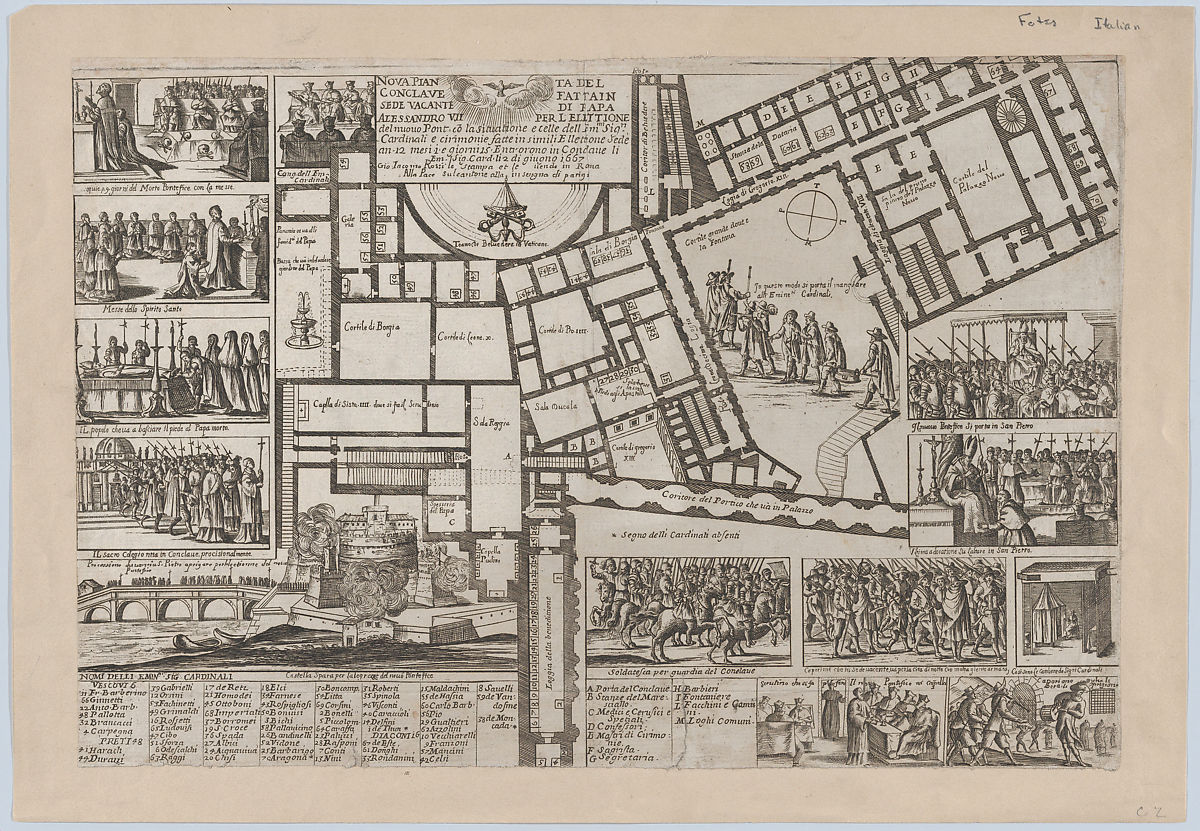 Giovanni Giacomo De Rossi | Papal conclave following the death of Pope Alessandro VII, with an iconographic map of Vatican City and scenes of the funeral, procession, and election of the new pope | The Met