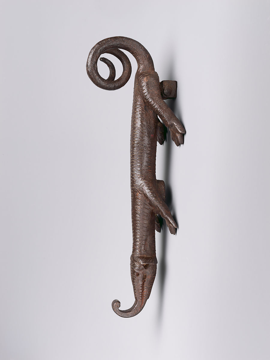 Door Knocker In The Shape Of A Lizard Like Creature, Wrought Iron, Spanish