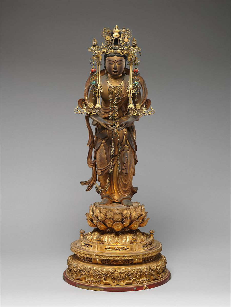 Bodhisattva Kannon, Wood with lacquer, gold leaf, and cut gold (kirikane) and metal , Japan