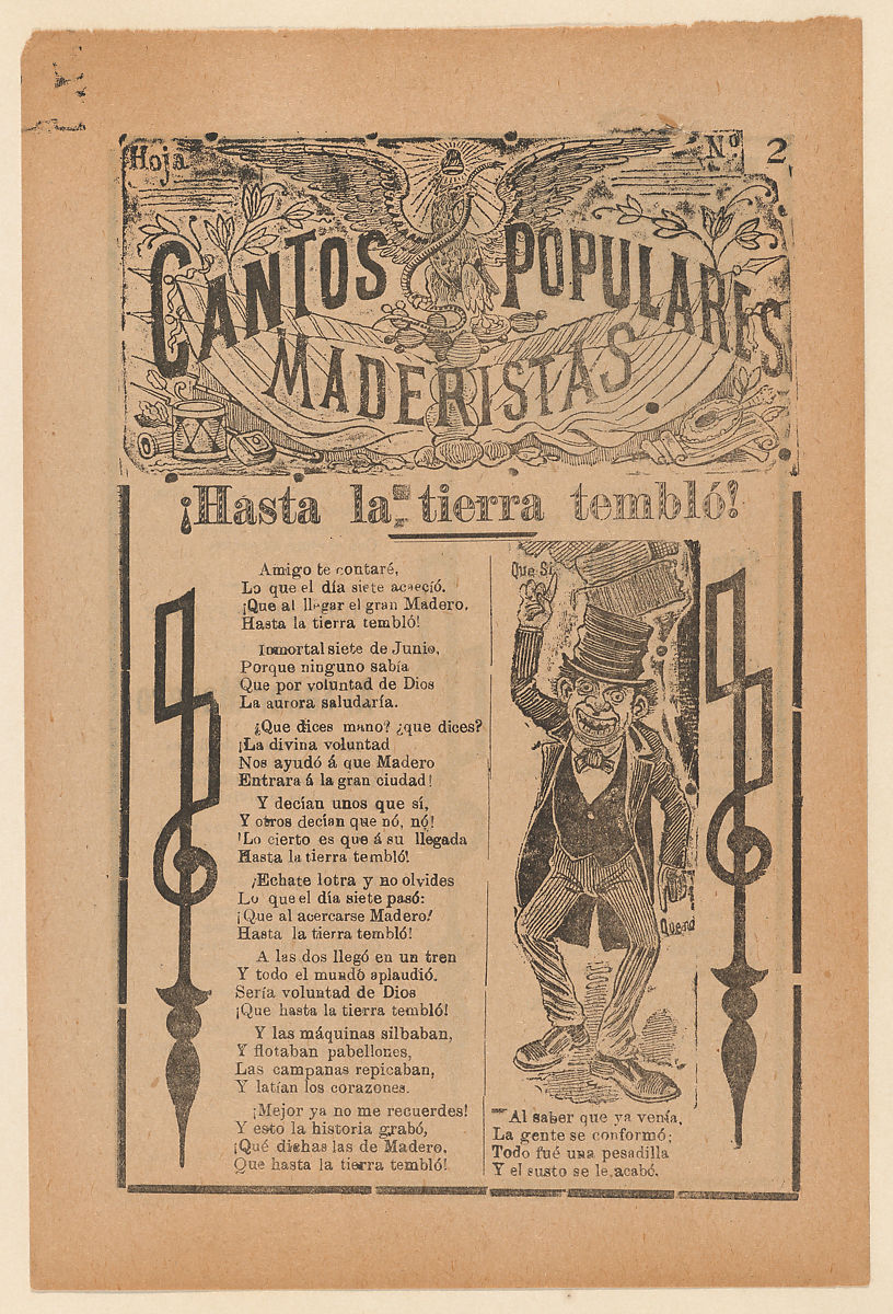 José Guadalupe Posada | Broadsheet celebrating one of the founders of the Mexican Revolution, Francisco Madero, shown in a suit and top hat pointing to the phrases 'Que Si' and 'Que No' | The Met