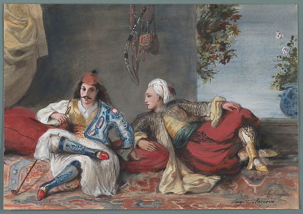 A Greek and a Turk in an Interior, Eugène Delacroix (French, Charenton-Saint-Maurice 1798–1863 Paris), Watercolor on paper
