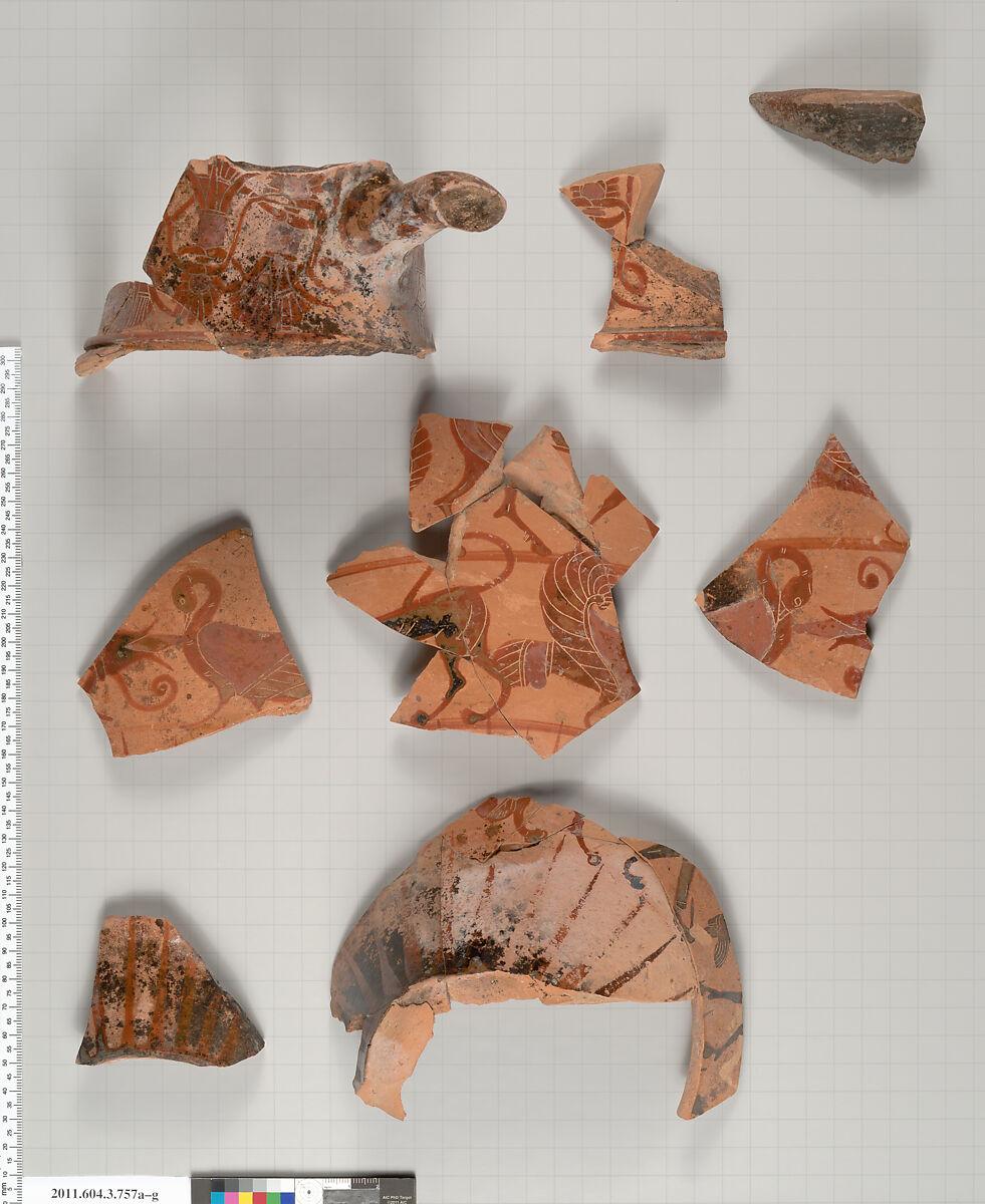 Terracotta fragments of a neck-amphora (jar) | Greek, Attic