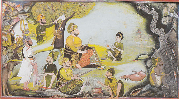 Miniature painting of Rawat Gokul Das at a hunting party in Devgarh. By Bagta.